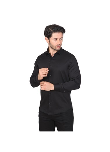 White Stone Londra Pamuklu Regular Fit Cepsiz Uzun Kollu Gömlek Siyah Siyah